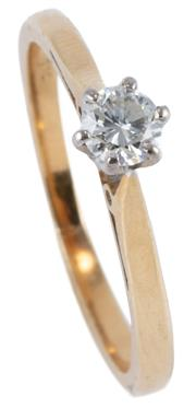 Sale 8974 - Lot 327 - A VINTAGE 18CT GOLD SOLITAIRE DIAMOND RING; set with a round brilliant cut diamond estimated as 0.17ct, VS, size J, wt. 2.02g.