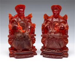 Sale 9098 - Lot 375 - Red Resin Emperor and Empress Figures (H25cm), some minor chips