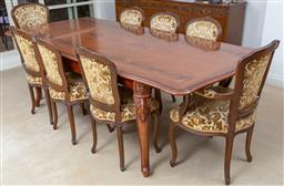Sale 9140H - Lot 66 - A French style extension dining table, over cabriole legs with carved design and one leaf, Height 78cm x Width extended 230cm x Dept...