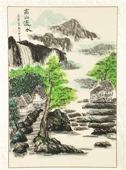 Sale 9164 - Lot 204 - A landscape themed Chinese scroll (160cm x 65cm)