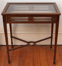 Sale 9190H - Lot 47 - An antique walnut inlaid vitrine with slender legs, with hinged lid and velvet interior, Height 75cm x With 67cm x Depth 42cm, no key