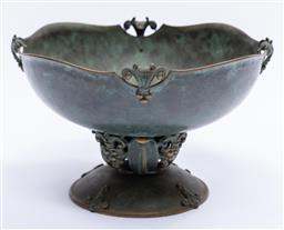 Sale 9200P - Lot 84 - A 1920s patinated bronze centrepiece in the style of Georg Jensen, Height 20cm x Width 33cm
