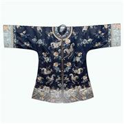 Sale 8244 - Lot 15 - Chinese Navy Blue Silk Robe