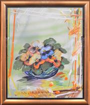 Sale 8271A - Lot 10 - Geoffrey Proud (1946 - ) - Pansies, 1984 60 x 50cm