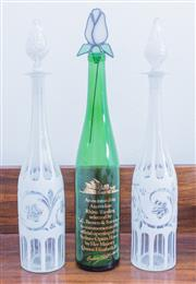 Sale 8440A - Lot 61 - A pair of Bohemian faceted white glass decanters, H 41cm, together with a green glass bottle