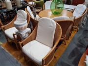 Sale 8901F - Lot 1048 - Cane Dining Suite inc 6 Tub Chairs and Round Table