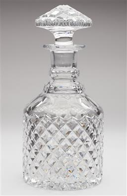 Sale 9123J - Lot 214 - Excellent quality large hand cut lead crystal ring neck mallet shaped decanter, C: 1930's. Ht: 26cm