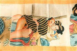 Sale 9164 - Lot 376 - Chinese erotic scroll (L:275cm)