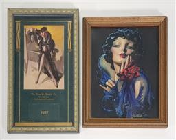 Sale 9188 - Lot 1076 - Vintage Framed Pinup Poster with Another (38 x 22/34 x 26cm)