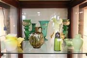 Sale 8340 - Lot 85 - Continental Green Glass Enamelled Pair of Vases with Other Wares incl Satin Glass Vase