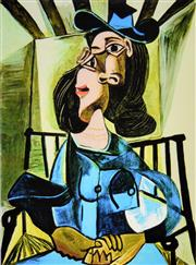 Sale 8592A - Lot 5071 - Pablo Picasso (1881 - 1973) - Woman with Hat Seated in Armchair 48.5 x 35cm
