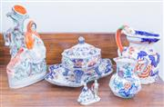 Sale 8440A - Lot 62 - A group of C19th and later ceramics including a Masons Ironstone jug, a Staffordshire spill vase, other Ironstone wares and a miniat...