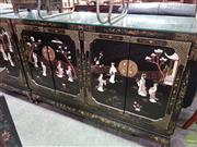 Sale 8580 - Lot 1080 - Oriental Inlaid Sideboard with Depicting Village Life on Doors (106.5 x 137.5 x 51.5cm)