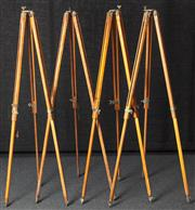 Sale 8984W - Lot 506 - A collection of four identical timber tripods, height 135cm