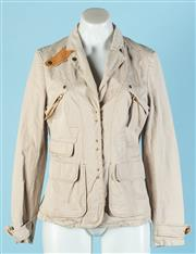 Sale 9090F - Lot 117 - AN ESCADA SPORTS CASUAL UTILITY JACKET, in a sand colour with leather accents, gold buttons/ details, two zip pockets to chest and a...
