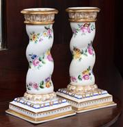 Sale 9070H - Lot 24 - A pair of German porcelain candlesticks of floral and gilt decoration, Height 15cm