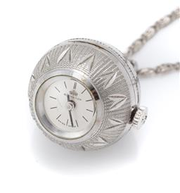 Sale 9107J - Lot 383 - A VINTAGE BUCHERA WATCH PENDANT ON CHAIN; engraved silver tone ball pendant encasing a manual watch with silvered dial and baton mar...