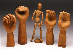 Sale 9107 - Lot 69 - A Collection of Timber Hands (H 28cm) Together with A Small Mannequin (H 33cm)