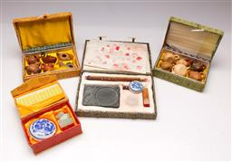 Sale 9110 - Lot 343 - Selection of boxed Chinese wares inc seal, miniature teapot and inkstone