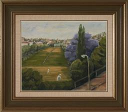 Sale 9118 - Lot 2095 - Artist Unknown - Croquet - most likely Royal Sydney, framed size 61 x 70cm