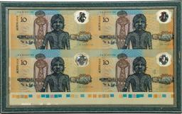 Sale 9144 - Lot 218 - An uncut sheet Of bicentennial Australian notes $10 (with a spare fitted frame) (AA, faulty hologram)