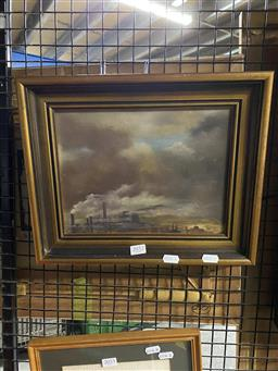 Sale 9176 - Lot 2052 - Valerie A Allan Smoking Chimneys with Mountain in Background oil on board 19.5 x 26cm, signed lower right -