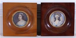 Sale 9190H - Lot 48 - A pair of miniature portraits in circular timber frames, after Raveil, Lavigalle and another (Helene Sedlmayr) by Steiler