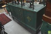 Sale 8418 - Lot 1079 - Green Painted Sideboard w 4 Central Drawers (some damage)