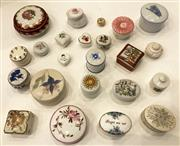Sale 8436A - Lot 64 - A group of 23 mainly porcelain pill boxes including Royal Crown Derby and Copenhagen.