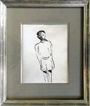 Sale 8442A - Lot 22 - Charles Blackman (1928 - ) - Boy; Swagman (double-sided) 31.5 x 24.5cm