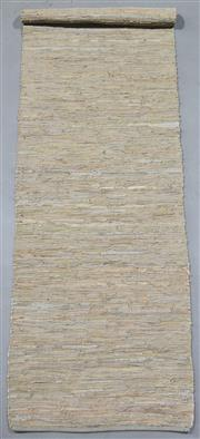 Sale 8438K - Lot 105 - Tallow Wood Woven Leather Runner | 200x75cm, Pure Leather, Handwoven Leather Flatweave RugHandcrafted using recycled leather and co...