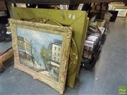 Sale 8483 - Lot 2095 - Collection of Gilt Framed Original Oil Paintings incl. Paris Street Scene by Burnett.
