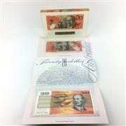 Sale 8618 - Lot 44 - Australias First Plastic $20 Note no. 195 of 250 in resin, together with Note Printing Australia edition of last paper $20 and firs...