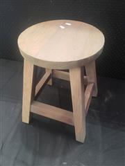Sale 8951 - Lot 1068 - Set of Four Round Top Timber Stools (H: 46cm)