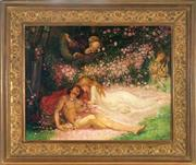 Sale 9015J - Lot 153 - European School (c20th) - Young Lovers (Bed of Roses) 75 x 95 cm (frame: 109 x 129 x 5 cm)