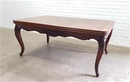 Sale 9126 - Lot 1122 - Louis XV Style Walnut Parquetry Extension Dining Table, with two draw-leaves & carved cabriole legs and apron (h:76 l:179-321 w:115cm)
