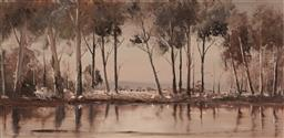 Sale 9125 - Lot 599 - Peter Hill (1937 - ) Landscape & Pond oil on board 34 x 70 cm (frame: 84 x 48 x 3 cm) signed lower left