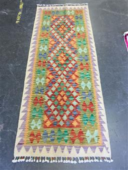 Sale 9126 - Lot 1255 - Persian hand knotted Kilim runner, some damage ( 189 x 75cm)
