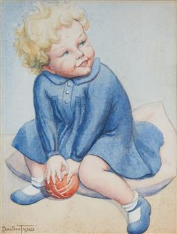 Sale 9150A - Lot 5068 - DOROTHEA FRANCIS (1903 - 1975) Untitled (Blonde Curls & Blue Dress) watercolour and graphite 29 x 22 cm (frame: 50 x 41 x 3 cm) sign...