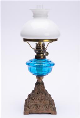 Sale 9185E - Lot 51 - A vintage Gaudard French metal based kerosene lamp with blue glass midsection, total Height 48cm