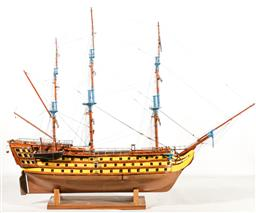 Sale 9192 - Lot 37 - A Master Built Model of the Frigate HMS Victory On Stand With Painted Hull and Masts (H:79 W:97cm)