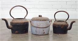 Sale 9188 - Lot 1355 - A pair of vintage cast iron kettles together with a small billy