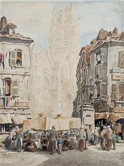 Sale 9237A - Lot 5011 - JOHN SKINNER PROUT (1805-1876) (ENGLISH) Rouen Cathedral, c1850 watercolour (unframed) 34 x 25 cm signed lower right