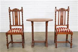 Sale 9255 - Lot 1090A - Early 3 piece suite incl. pair of chairs (h110cm) & table (h76 x w76 x d50cm) with barley twist supports