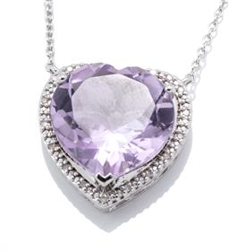 Sale 9253J - Lot 440 - A SILVER AMETHYST AND DIAMOND PENDANT NECKLACE; a heart shaped pendant featuring a heart cut amethyst to surround set with 20 single...
