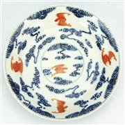 Sale 8162 - Lot 8 - Blue & White Iron Red Bats Plate with Kuang Hsu Mark