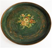 Sale 8298 - Lot 35 - Early French hand painted drinks tray -- 45 cm diameter