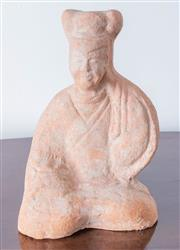 Sale 8800 - Lot 102 - Mother, an antique Chinese terracotta kneeling figure, H 24.5cm