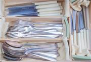 Sale 8440A - Lot 64 - A Walker & Hall silver plate cutlery setting the knives with xylonite handles