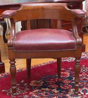Sale 8435A - Lot 82 - An early C19th French mahogany tub elbow chair with red leather padded arms and seat with brass studs